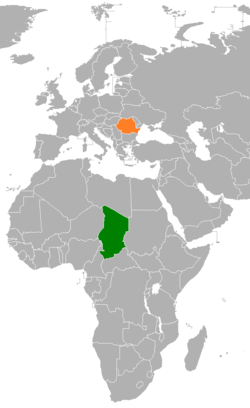 Map indicating locations of Chad and Romania