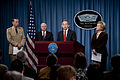 Chairman of the Joint Chiefs of Staff Navy Adm. Mike Mullen, left, Secretary of Defense Robert M. Gates, second from left, Secretary of Energy Steven Chu, second from right, and Secretary of State Hillary Rodham 100406-N-TT977-089.jpg
