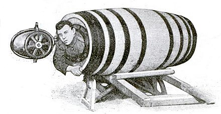 Charles Stephens in his barrel, prior to his July 1920 attempt Charles Stephens barrel 1920.jpg