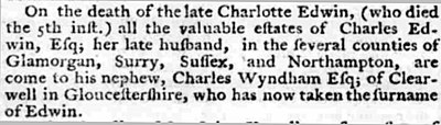 Notice of name change of Charles Wyndham from Wyndham to Edwin Charles Wyndham name change 1777.jpg