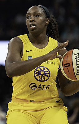 Chelsea Gray of the Los Angeles Sparks is the most recent WNBA player to have recorded a triple-double, doing so in 2019. Chelsea Gray 20190608 Lorie Shaull.jpg