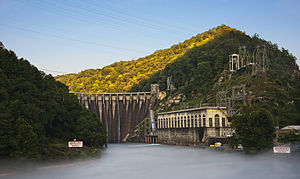 National Register of Historic Places listings in Graham County, North Carolina - Image: Cheoah Hydroelectric Dam Graham Co NC