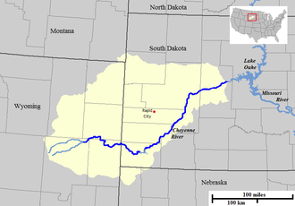 Cheyenne River - Map of the course and watershed of the Cheyenne River