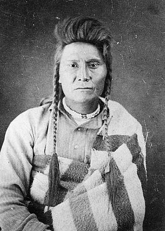 Nez Perce War - Chief Joseph, at Tongue River Cantonment in Montana Territory,  taken by John H. Fouch on October 23, the same day the Nez Perce prisoners arrived, three weeks following the surrender.