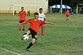 Chinese sailors compete against Chilean sailors during a soccer tournament in support of exercise Rim of the Pacific (RIMPAC) 2014 at Joint Base Pearl Harbor-Hickam, Hawaii, June 28, 2014 140628-N-UL721-159.jpg