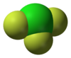 Spacefill model of chlorine trifluoride