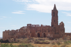 San Martín de Tours church, in the old village of Belchite, now abandoned