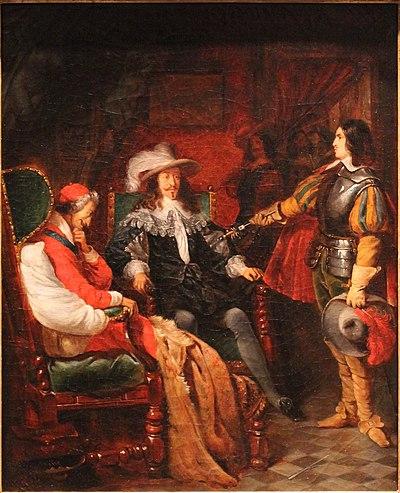 Cinq-Mars rendant son épée à Louis XIII - Claudius Jacquand - MBA Lyon 2014 (cropped)