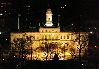 New York City Hall - City Hall at night in 2008