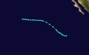1959 Pacific hurricane season - Image: Clara 1959 track