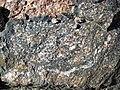 Clast-rich impact pseudotachylite (Sudbury Breccia, Paleoproterozoic, 1.85 Ga; Windy Lake Northwest roadcut, Sudbury Impact Structure, Ontario, Canada) 20 (47686418082).jpg