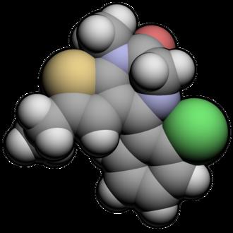 Clotiazepam - Image: Clotiazepam 3d
