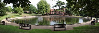 Christchurch Mansion - The round pond of Christchurch Park with the mansion in the background