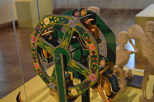 Mexican lacquerware - Lacquered toy ferris wheel from Temalacatzingo