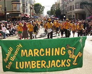 Humboldt State University Marching Lumberjacks - Marching Lumberjacks at Columbus Day Italian Heritage Parade in SF North Beach 2011
