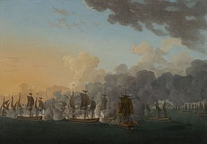 Jean-François de Galaup, comte de Lapérouse - Lapérouse victoriously led the frigate L'Astrée in the naval battle of Louisbourg, 21 July 1781, by Auguste-Louis de Rossel de Cercy.