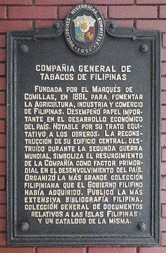 Compañía General de Tabacos de Filipinas - Compañia General de Tabacos de Filipinas Historical Marker