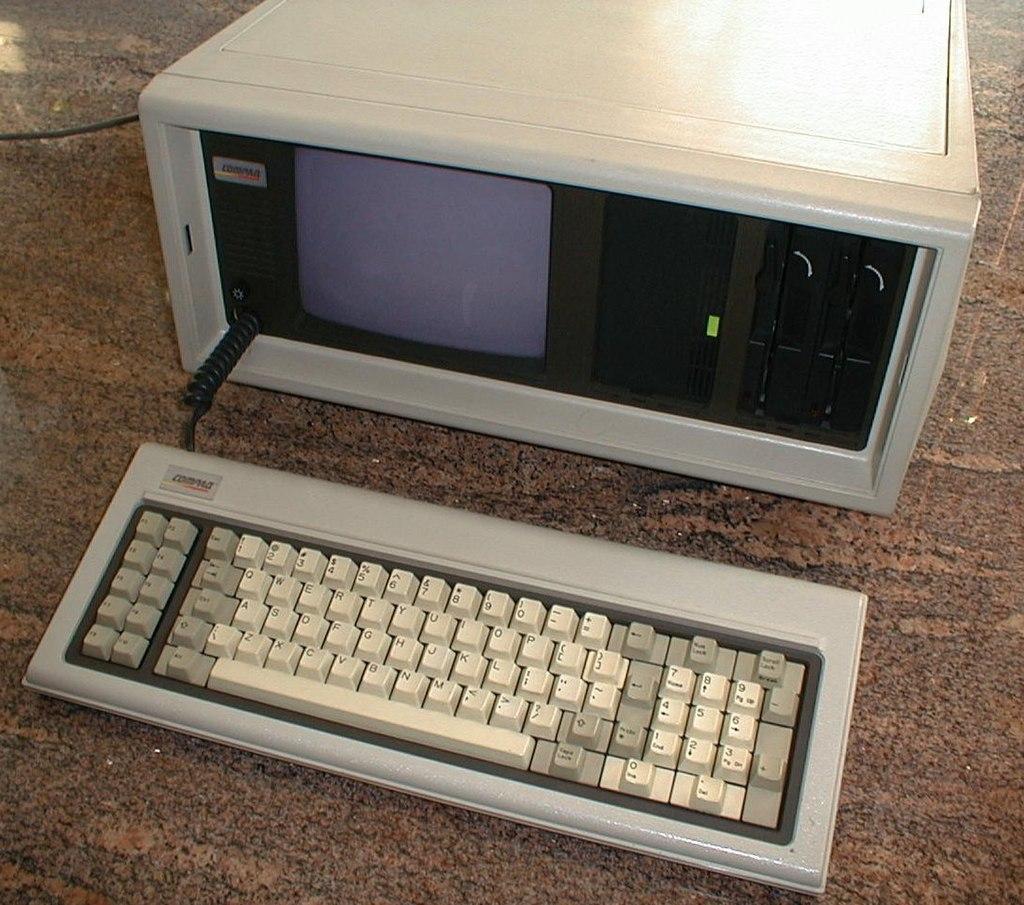 First Compaq portable computer.