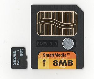 SmartMedia - Comparison of a 2GB MicroSD Card and an 8MB 3.3V SmartMedia Card
