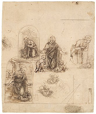 The Madonna and Child with the Infant St. John the Baptist (Leonardo da Vinci) - Compositional sketches for the Virgin adoring the child Christ, Metropolitan Museum of Art.