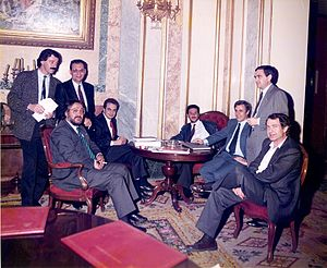 José Luis Rodríguez Zapatero - Zapatero having a break during a parliamentary session with some fellow Socialist MPs in 1988.