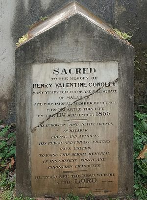 Henry Valentine Conolly - Conolly's tomb stone at Calicut