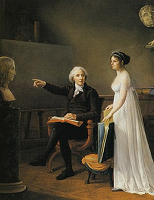Constance Mayer - Self-Portrait with Artist's Father: He Points to a Bust of Raphael, Inviting Her to Take This Celebrated Painter as a Model, oil on canvas, 1801, Wadsworth Atheneum, Hartford, Connecticut