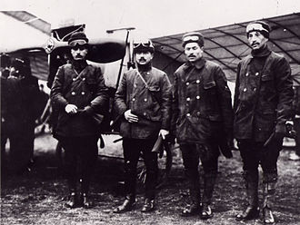 Ottoman Aviation Squadrons - 1914 Istanbul-Cairo flight, left to right: Sadık Bey, İsmail Hakkı Bey, Fethi Bey and Nuri Bey