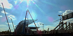Construction of the new Albert Florian Stadion 2013 01.jpg