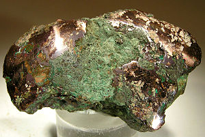 Old Copper Complex - Native copper nugget from glacial drift, Ontonagon County, Michigan. An example of the raw material worked by the people of the Old Copper Complex.
