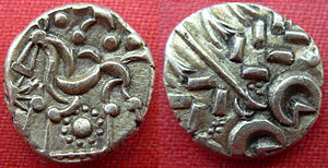 Sleaford - An electrum stater of the Corieltauvi, probably struck at Sleaford in the mid-1st century BC. Diameter 17–19 mm.