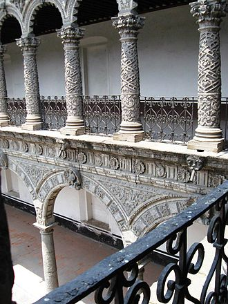 La Merced Cloister - Corner view showing the doubling of columns from lower to upper floor