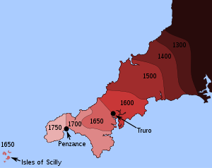A colour-coded map of Cornwall, surrounded by a blue sea. Cornwall is shaded dark red in the east and pale pink in the west, with a range of intermediate shades of red between, intended to represent periods of time in which the Cornish language was used.