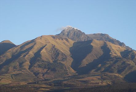 the Cotacachi volcano (Ecuador) seen from the town of Cotacachi. My camera is not the most recent one and I am no professional photographer, so please do not bite!