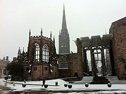 Coventry Cathedral ruins in the snow (from University Square)