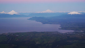 Llanquihue glaciation - View of Llanquihue Lake. During much of the Llanquihue glaciations glaciers flowing from the Andes in the east (background) coalesced and entered the lake basin forming a large glacier lobe there.