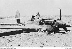 No. 260 Squadron RAF - A crashed Kittyhawk I of 260 Squadron, flown by Flt Lt M D Wylie DFC shot down on 30th May 1942 in North Africa, nr El Adem.