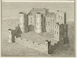 Crickhowell Castle. From a Survey in the beginning of the 6th Cent by James Basire 1730–1802
