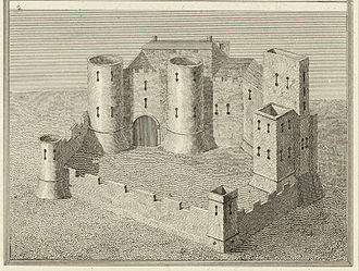 Crickhowell - Crickhowell Castle. From a Survey in the beginning of the 6th Cent by James Basire