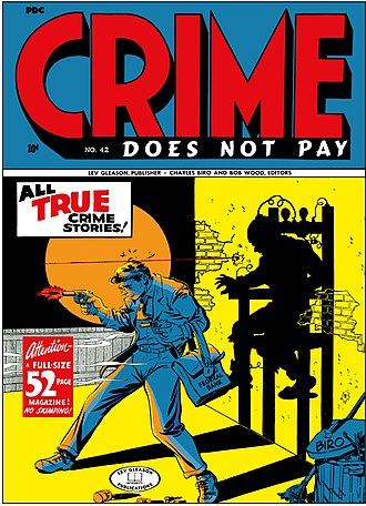 Crime comics - Cover to an issue of Crime Does Not Pay, one of the earliest crime comics
