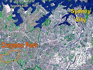 Croydon Park, New South Wales - NASA image of Sydney's CBD and inner west suburbs, with borders of Croydon Park shown in orange