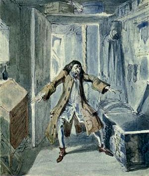 """The Miser's Daughter - """"The Miser Discovers the Loss of the Mortgage Money"""", an illustration to Harrison Ainsworth's novel The Miser's Daughter, first published in Ainsworth's Magazine in 1842"""