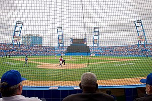 Estadio Latinoamericano - Image: Cuban National Baseball Team Pitcher Throws Pitch at Exhibition Game Attended by U.S. President Obama, Secretary Kerry in Havana, Cuba (25904225991)