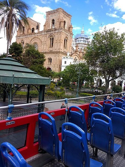 Street view from top deck, 2nd floor view. double decker bus in Cuenca, Ecuador Cuenca Ecuador..pic 3.5a Tour Bus, South America Andes Mountains.jpg