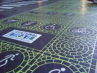 Indianapolis Cultural Trail: A Legacy of Gene & Marilyn Glick - Duratherm markings are found at crosswalks throughout the Indianapolis Cultural Trail's route.