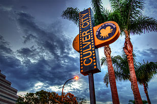 Culver City sign in October 2010, at sunset.