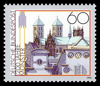 Münster Cathedral - St.-Paulus-Dom and other buildings on a stamp of Deutsch Bundespost (14 January 1993)