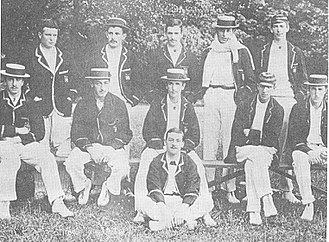 Robert Gwynn - Dublin University team of 1895 - R M Gwynn is in the back row, far right