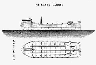 Dahlgren gun - Dahlgren boat howitzer mounted in frigate's launch. The field carriage can be seen in stern
