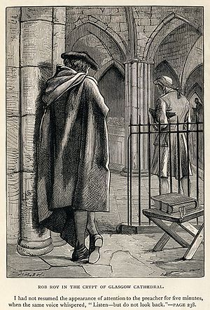 Rob Roy (novel) - A Dalziel Brothers engraving.  Rob Roy (left) gives a mysterious warning to Francis Osbaldistone (right) in the crypt of Glasgow Cathedral, promising to tell him more if he meets him later on. This leads to Francis being pulled in with the rebels. Frontispiece to an 1886 edition of the novel.
